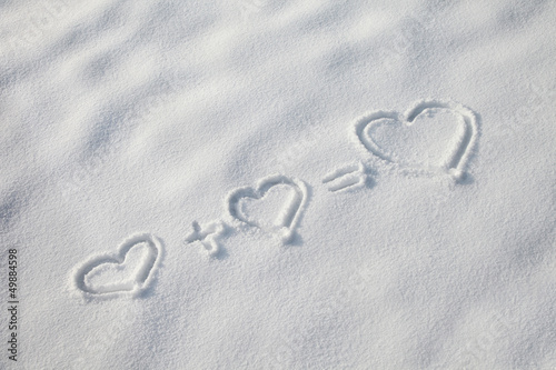 Hearts symbols in the snow