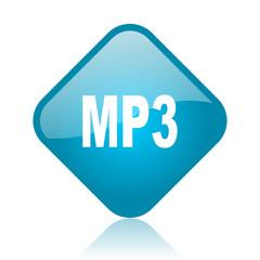 mp3 blue square glossy web icon