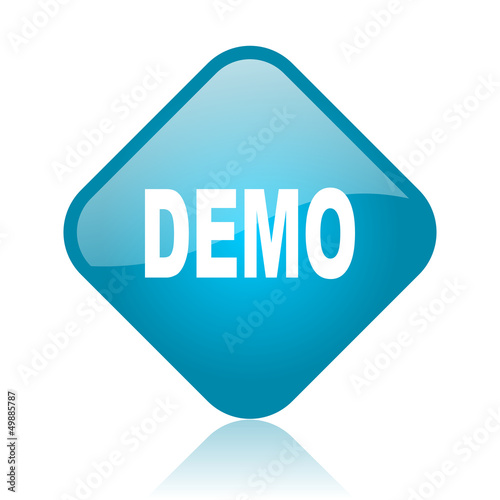 demo blue square glossy web icon