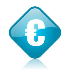 euro blue square glossy web icon