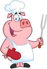 Happy Pig Chef Holding A Fork