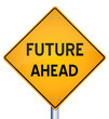 3d Illustration of future ahead road sign