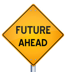 3d Illustration of future ahead road sign