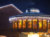 Ski cafe at night