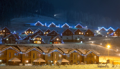 Ski village at night
