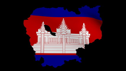 Fluttering Cambodia map flag animation