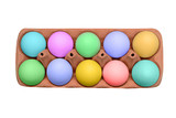 Colored Easter eggs in box