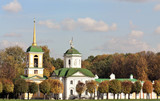 Kuskovo estate. View of the palace church with a bell tower poster