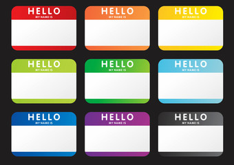 vector hello my name is stickers
