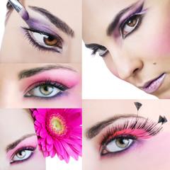 Set di occhi truccati con volto femminile