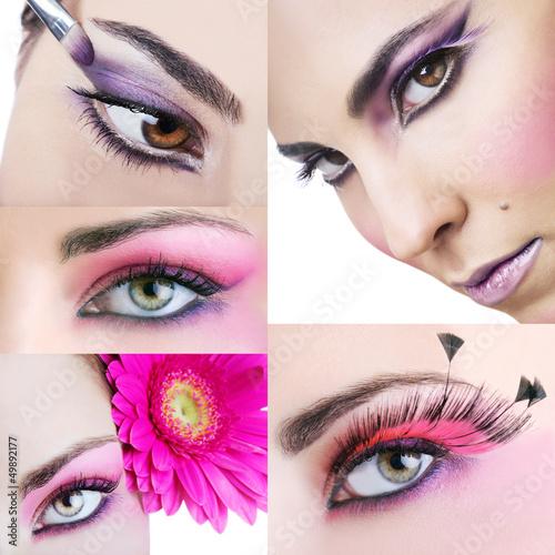 Fototapeten,auge,makeup,blume,lila
