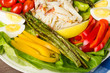 Dungeness Crab salad with asparagus and colorful peppers