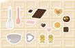 お菓子作りの道具とクッキー