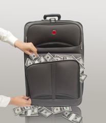 Luggage full of American dollars.