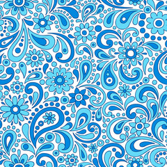 Paisley Flowers Seamless Pattern Vector Illustration
