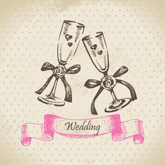 Wedding wineglasses. Hand drawn illustration