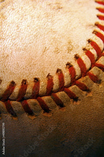Closeup of an old, used baseball