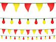 Guirnaldas y banderines en amarillo y rojo