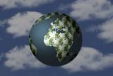 money world in sky background