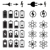 Set of vector battery charge level indicators on white