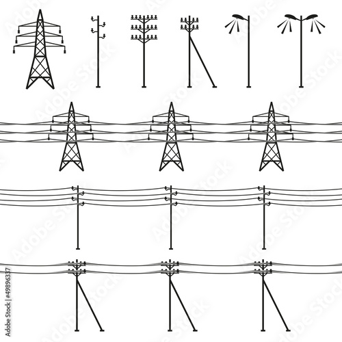High voltage power lines. Electricity pylon silhouette. Vector - 49896337