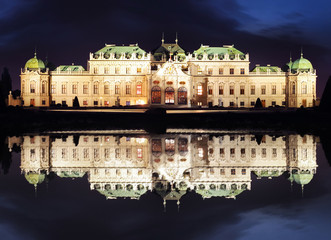 Vienna at night - Belvedere Palace, Austria