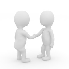 Two 3d people shaking hands