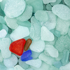 Three sea glass pieces