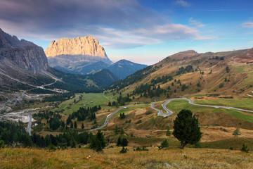 Mountain Landscape in Italy Alps - Passo Gardena in Dolomites