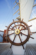 Ships helm on deck of a clipper ship, Italy - 49897938