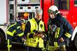 Leinwanddruck Bild - Feuerwehr - Einsatzplanung am Tablet-Computer