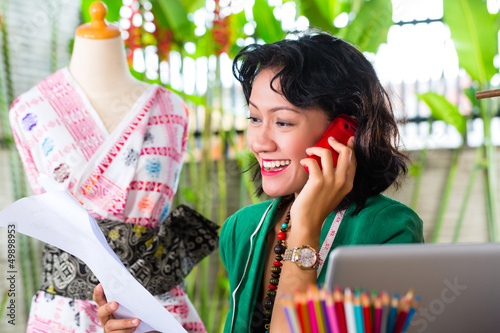 Fashion designer working at home