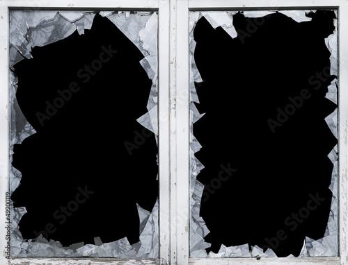 Leinwandbild Motiv glas, bruch, scherbe, eingeschlagen, fenster
