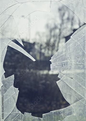 szkło, przerwa, odłamek, rozbita, okno
