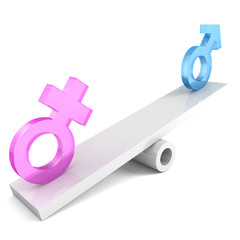 gender signs on the balance