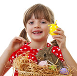 girl with easter rabbit and easter eggs isolated on white