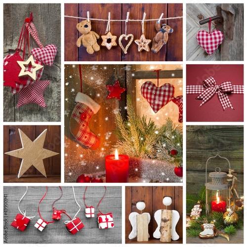 weihnachten dekoration klassisch in rot mit holz im landhausstil stockfotos und lizenzfreie. Black Bedroom Furniture Sets. Home Design Ideas