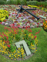 Flower Clock in the public park, Geneva, Switzerland