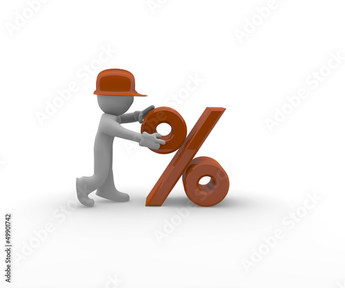 Discount, construction worker with a percent icon