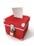 red vote box with bulletin paper