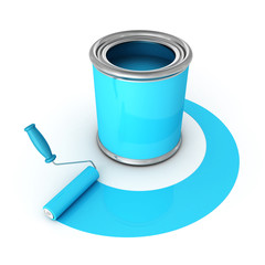 metallic can with blue paint and roller brush
