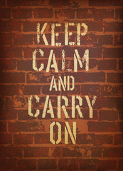 The words keep calm and carry on. Vector, EPS10