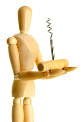 Mannequin with corkscrew, isolated on  white