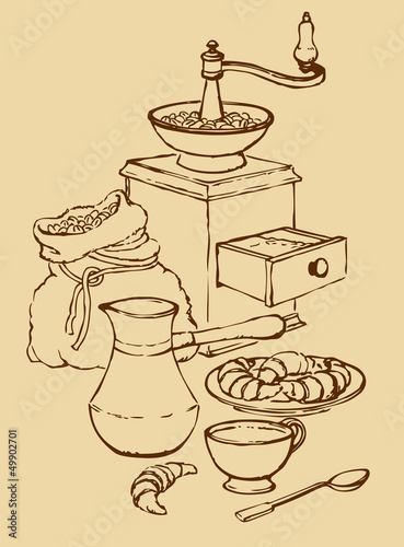 Vector still life. Cup of coffee with croissants and old coffee