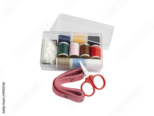 Set of sewing in the plastic box isolated on white background