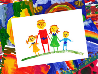 happy family with illustration collage