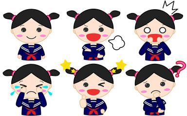 制服女子イラスト 表情