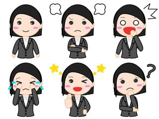 スーツ女性イラスト 表情