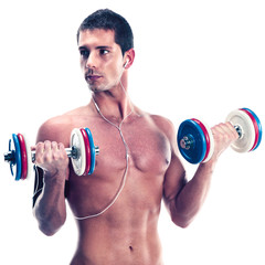 Young man lifting weights isolated on white