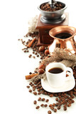 Fototapety Cup and pot of coffee and coffee beans, isolated on white